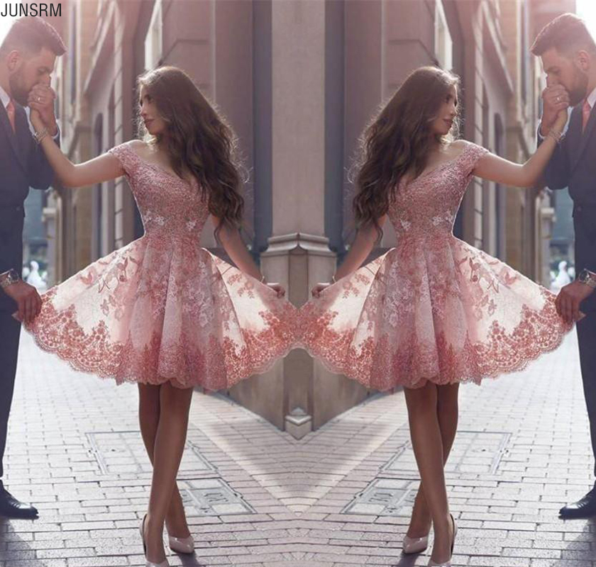 2020 Pink New Arabic Style Homecoming   Dresses   Off Shoulders Lace Appliques Short Prom   Dresses   Backless   Cocktail     Dresses   Custom