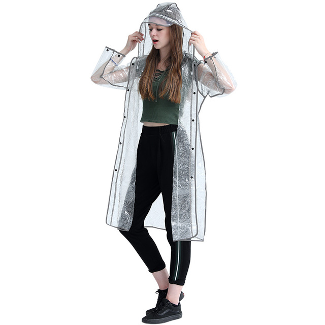 Adult Transparent Raincoat Women Thickened Clear Rain Coat EVA Outdoor Hiking Reflective Long Rain Poncho Jacket Impermeable 2