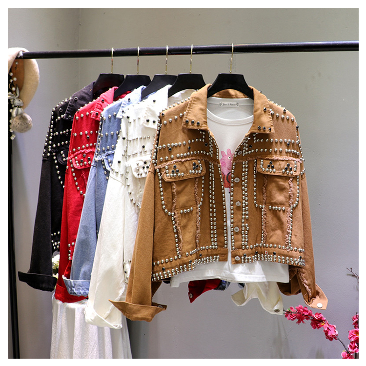 Jacket Women 2019 Autumn Hand Rivet Studded Denim Jacket Loose Outwear Female New Students Casual Short Jeans Coats