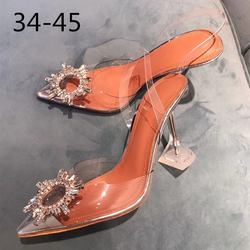 34-45 Pvc Transparent Crystal Shoes 2020 Summer New Pointed Odd Heel Shoes Stiletto Ladies Sun Decoration Wild Fairy Shoes