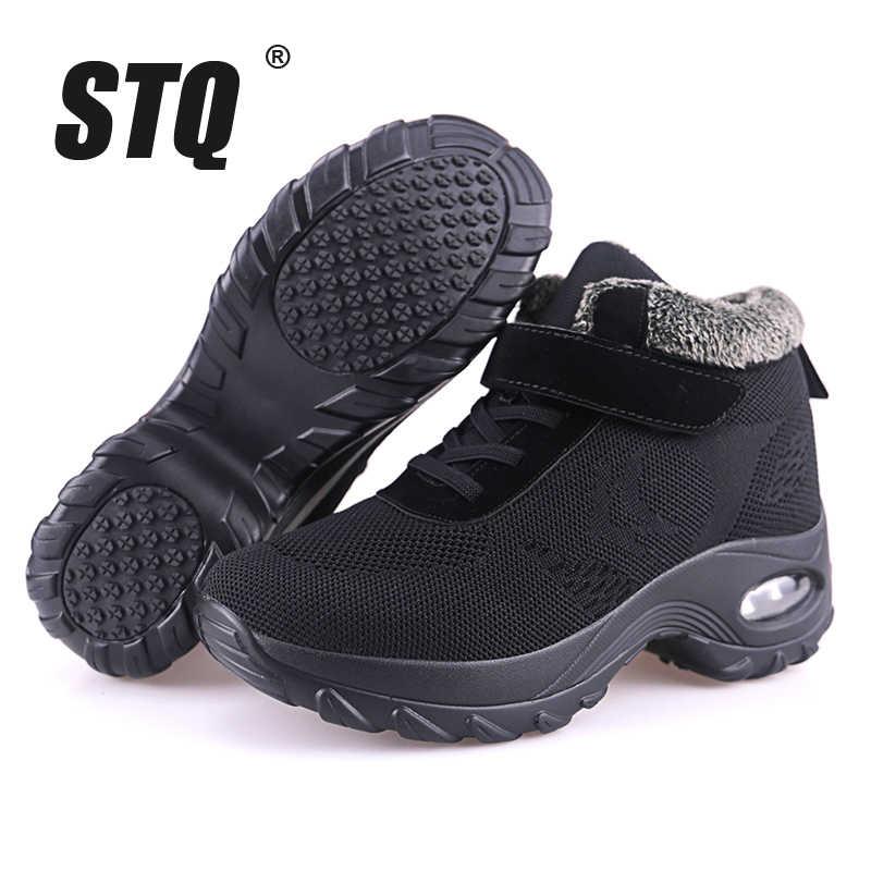 STQ 2019 Kış kadın kar botları kadın ayakkabı sıcak itme platformu siyah yarım çizmeler kadın yüksek kama su geçirmez botlar 2002
