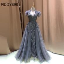 יוקרה שמלת ערב ארוך ערבית נוצת שרוול מבריק חרוזים נשף שמלה 2020 robe De Soiree Vestidos דה פיאסטה דה Noche