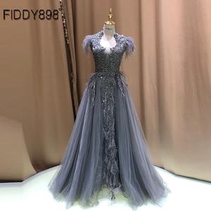 Image 1 - יוקרה שמלת ערב ארוך ערבית נוצת שרוול מבריק חרוזים נשף שמלה 2020 robe De Soiree Vestidos דה פיאסטה דה Noche