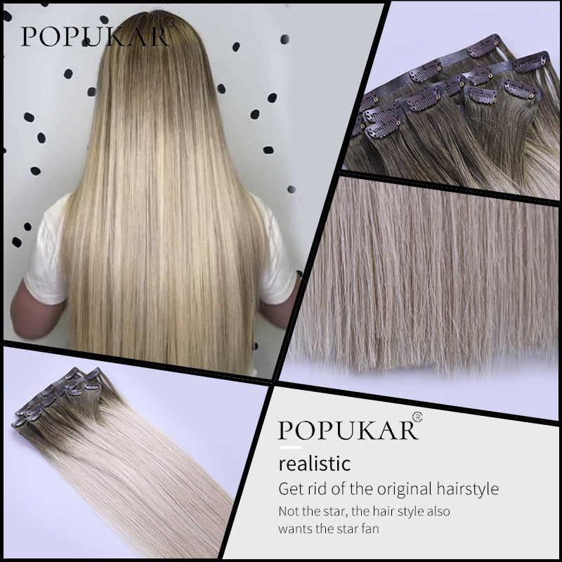 Popukar רמי אדם כפול נמשך רוסית קליפ רמי שיער הרחבות 100% שיער טבעי pu קליפ משיי ישר