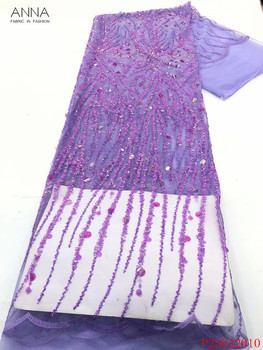 Anna purple french net lace fabric 2020 high quality embroidered african sequins laces nigerian tulle fabrics 5 yards for sewing