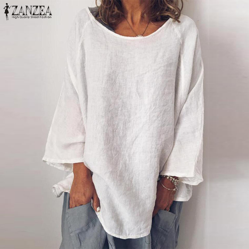 Plus Size Tunic Women's Summer Blouse ZANZEA 2019 Casual Cotton Blusas Female Long Sleeve Tee Shirt Basic Tops Solid Chemise 5XL