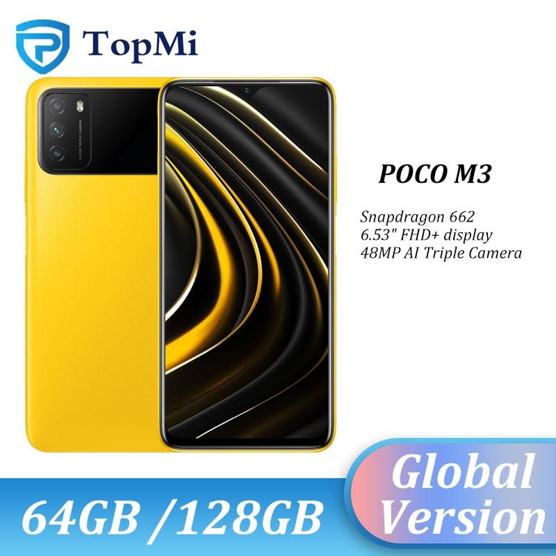 هاتف POCO M3 الذكي الإصدار العالمي لعام 2020 بذاكرة وصول عشوائي 4 جيجابايت وذاكرة قراءة فقط 64 جيجابايت/128 جيجابايت ومعالج سنابدراجون 662 ومعالج ثماني النوى وبطارية 6000 مللي أمبير في الساعة وكاميرا بدقة 48 ميجابكسل