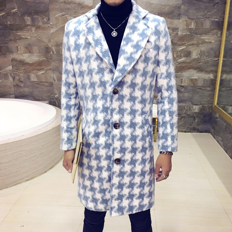 2020 Autumn Winter Fashion Plaid Buttons Casual Lattice Long Jacket Turndown Collar Men Wool Coat Outwear