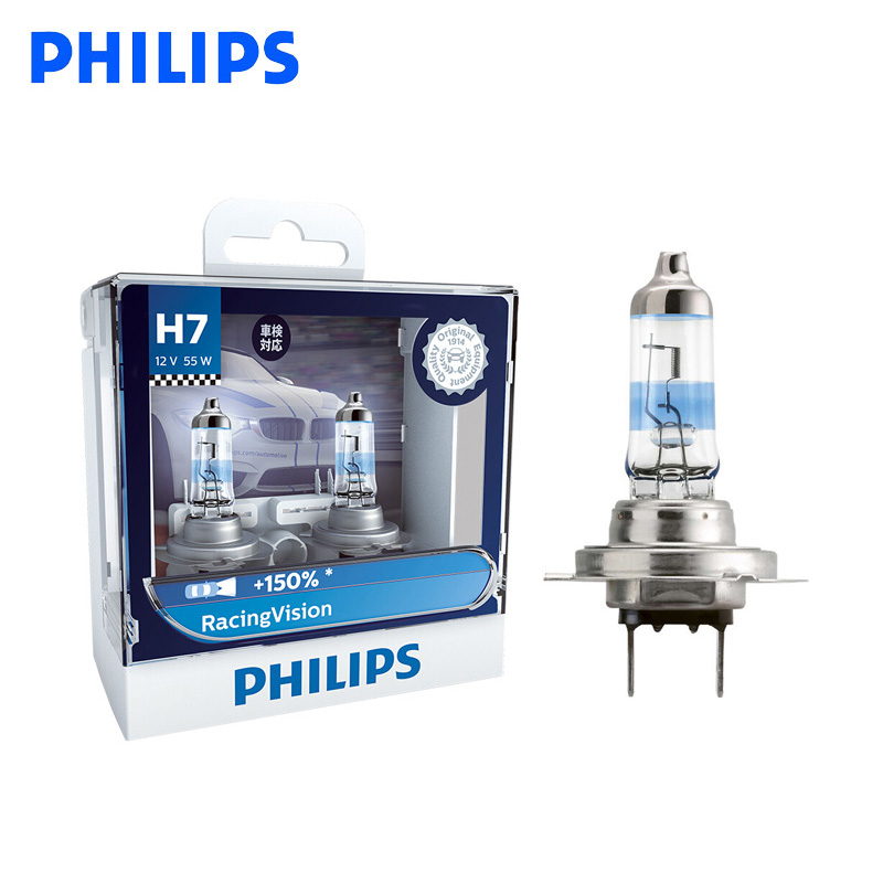 Philips <font><b>H7</b></font> 12V 55W Racing Vision +<font><b>150</b></font>% More Bright Car Headlight Auto Halogen Lamp Rally Performance ECE 12972RV S2, Pair image