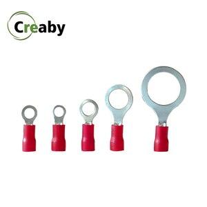 50/100 sztuk 0.5-1.5mm 22-16 AWG pierścień Insulaterd Terminal kabel pcv drut elektryczny zaciski zestaw łączników M3/M4/M5/M6/M8 czerwony
