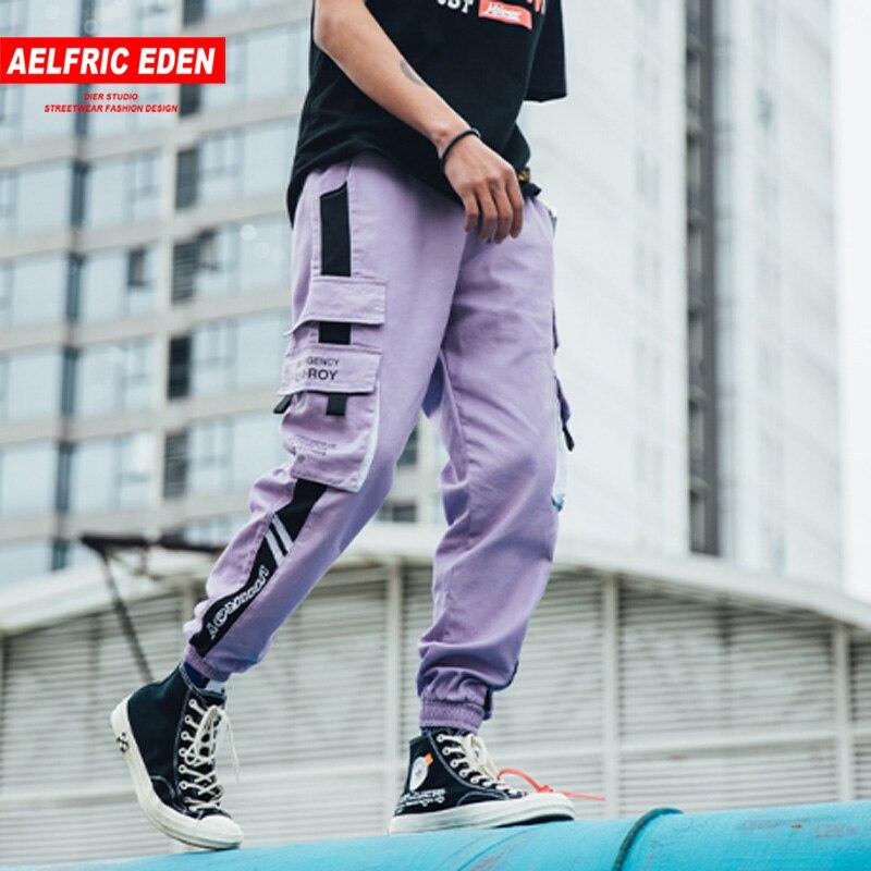 Aelfric Eden Harajuku Cargo Pants Men Streetwear Men Casual Elastic Waist Joggers Trousers 2020 Colorblock Hip Hop Harem Pants