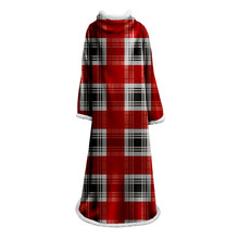 Stripes Hooded Sleeve Blanket Printed Home Office for Adults Kids Wearable Throw Travel Plane with Dropship