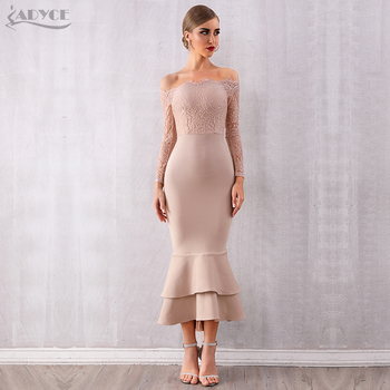 ADYCE Summer Women Off Shoulder Lace Bandage Dress Celebrity Party Dress Vestidos Sexy Long Sleeve Slash Neck Bodycon Club Dress women long sleeve off shoulder slash neck dress slim body con knitted sweater sexy club dress knee length party night dresses