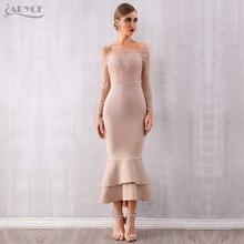 ADYCE الصيف بلوزات غير مغطية للكتف الدانتيل ضمادة فستان حفلة المشاهير فستان Vestidos مثير كم طويل مائل الرقبة Bodycon نادي اللباس