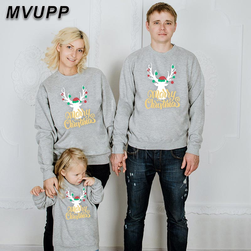 Family Christmas Sweater For Daddy Mommy And Kids Deer Print Letter Clothes Dad Son Mom Daughter Hoodies Sets Winter Sweatshirt