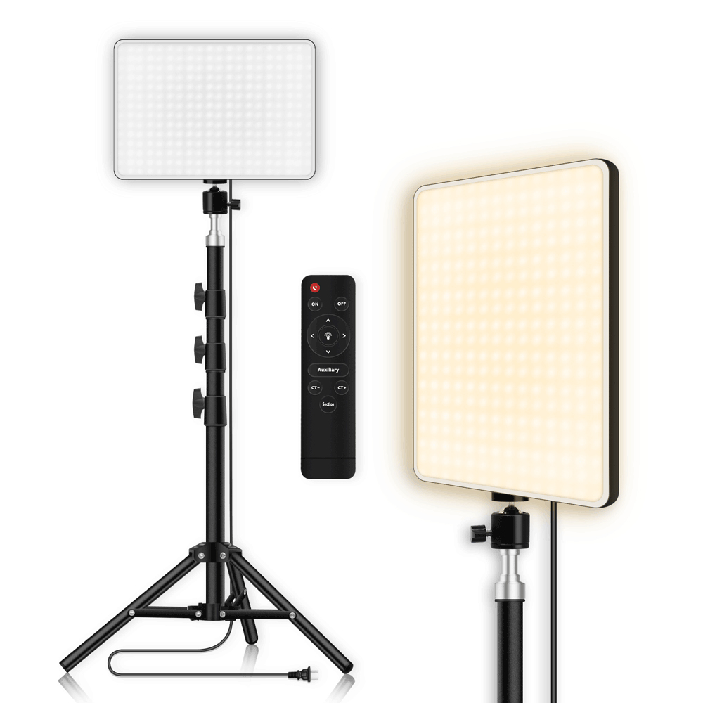 Hd9c33afaa5434814a949f0591671d3162 LED Video Light With Professional Tripod Stand Remote Control Dimmable Panel Lighting Photo Studio Live Photography Fill-in Lamp
