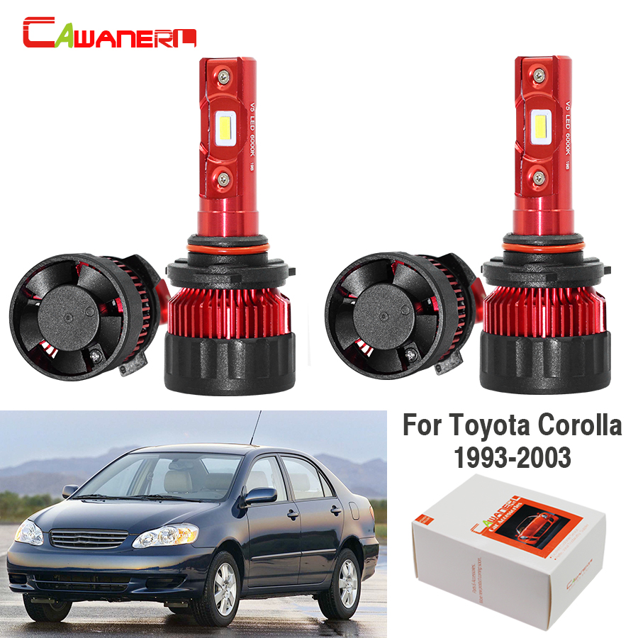 Cawanerl For Toyota Corolla 1993 2003 Car 60W 9000LM LED Headlight Low Beam High Beam White 6000K 12V Auto Headlamp 4 Pieces