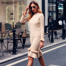 WannaThis Knee-Length Party Dresses Autumn Knitted Mock Neck Long Sleeve Ruffles Apricot Solid Elastic Elegant Sweater Dress недорого