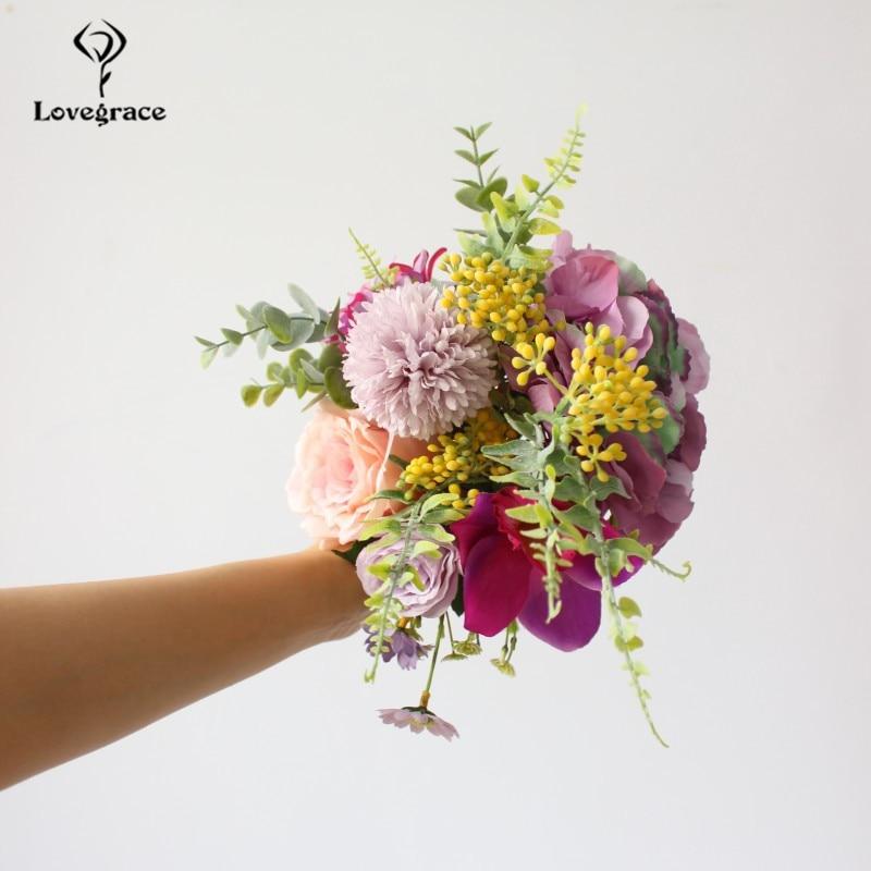 Lovegrace Fake Flower Bouquet Forest Style Bride Bouquet Artificial Silk Rose Orchid Hydrangea Pompon Mini Fruit Wedding Flowers