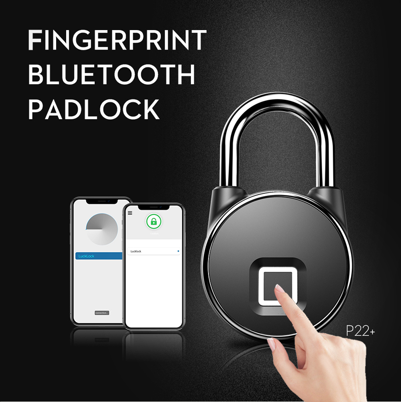 Anytek Fingerprint Smart Padlock IP66 Waterproof Security Keyless Bluetooth USB Rechargeable Door Lock Quick Unlock Zinc Alloy