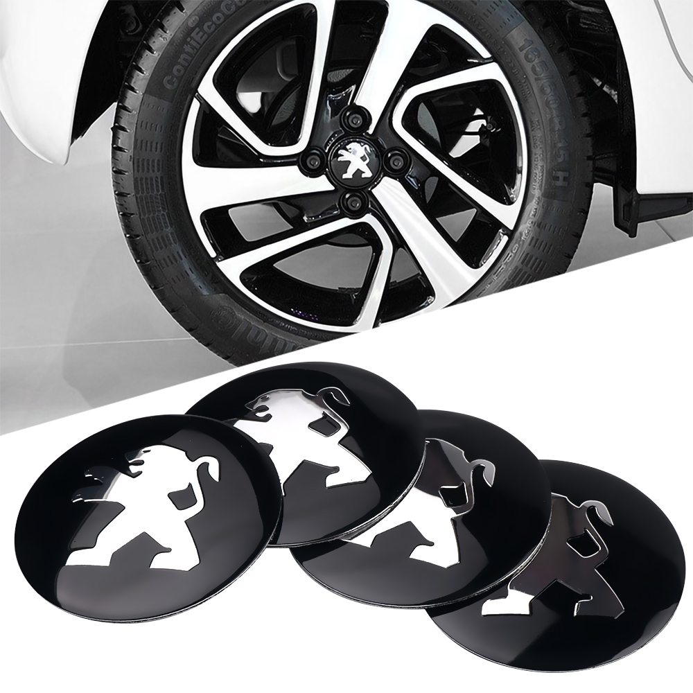 Car-styling 4pcs 56mm Car Tire Wheel Center Hub Caps Decorative Sticker For Peugeot 208 308 408 508 2008 3008 Accessories