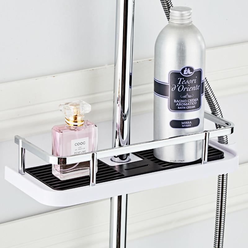 New 25mm Bathroom Pole Shower Storage Rack Holder Organizer ABS Bathroom Shelves Shower Shampoo Basket Tray Shower Head Holder