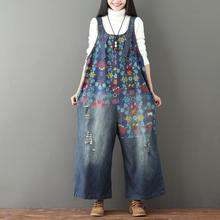 Женский винтажный комбинезон с цветочным принтом джинсы большого
