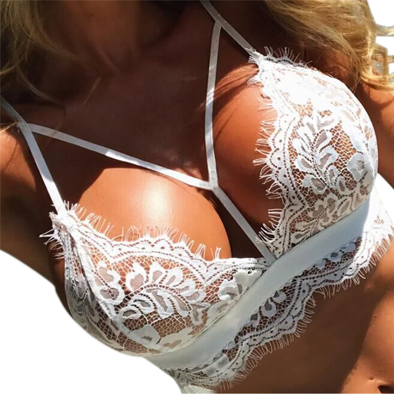 Porno Women Bralette Sexy Lingerie Hot Erotic Push Up Lace Bras Hollow-out Floral Lace Women Underwear Sex Bandage Clothes