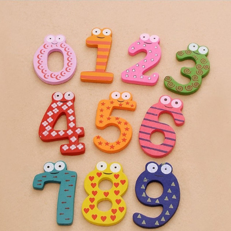 10pcs/set Montessori Baby Number Refrigerator Fridge Magnetic Figure Stick Mathematics Wooden Educational Kids Toys For Children