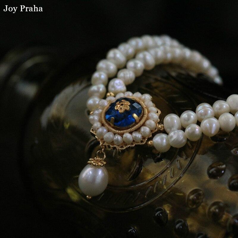 Double couche perle femmes chaîne clavicule/Vintage bleu court collier tricoté à la main/livraison directe en gros