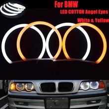 цена на Car-Styling 4X146MM White Halo Ring Light Cotton Light Car SMD LED Angel Eyes For BMW E46 Vorfacelift Headlight Light DRL CCFL