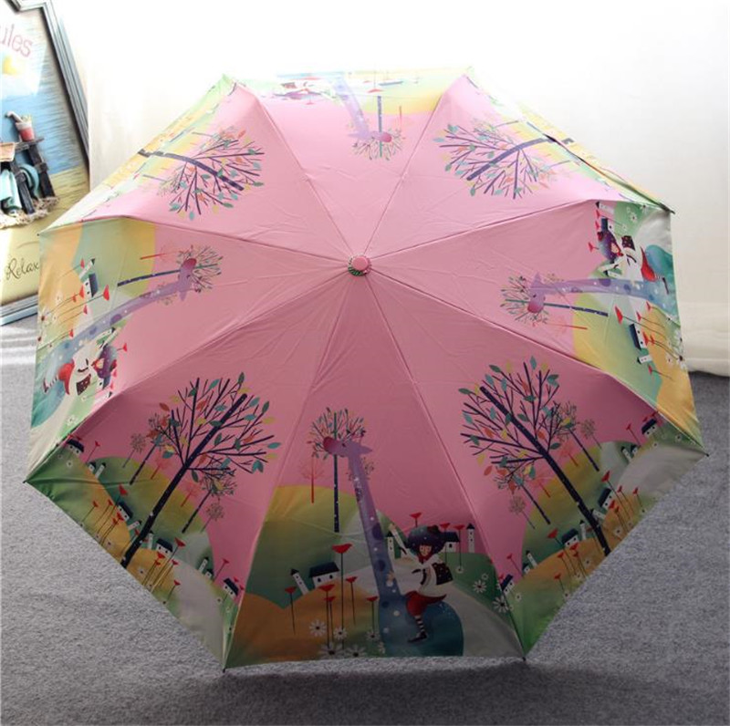 Lotosblume brand Hot Sale New Fully Automatic Anti-UV For Women Gift Fashion Windproof Sun Rain Ladies Umbrellas
