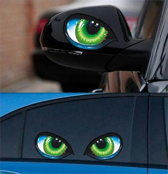 Cat Eyes Car Stickers 3D Vinyl Decal for skodafortwo fiat 500 panda volvo v40 toyota corolla audi 80 passat b8 image
