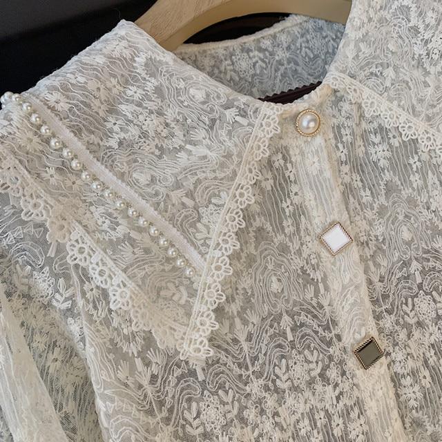 Long Sleeve Lace Blouse Shirt Blouse Women Blusas Mujer De Moda 2021 Beading Turn Down Collar Blouse Blusa Women Blouses E297 5