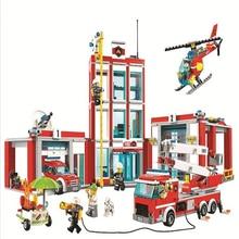 958 pçs menino série da cidade a estação de incêndio modelo bloco de construção tijolo brinquedo para crianças presente aniversário 10831
