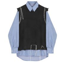 Kobiety czarny Knitting Burr dwuczęściowy bluzka nowa z klapami z długim rękawem luźna koszula moda fala wiosna jesień 2020 V546 tanie tanio YANZIXG COTTON Poliester REGULAR Jersey Skręcić w dół kołnierz NONE Stałe Pełna Na co dzień