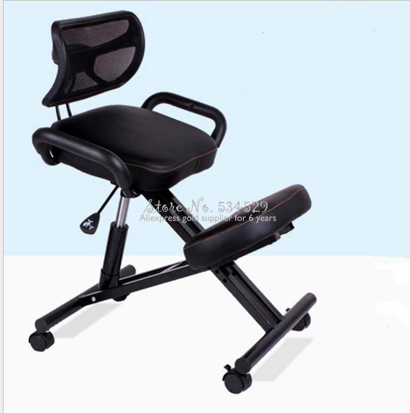 25%Designed Knee Chair With Back And Handle Office Kneeling Chair Ergonomic Posture Leather Black Chair With Caster