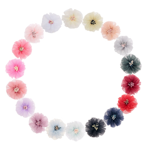 Nishine 5pcs/lot Tulle Silk Hair Flower with Match Stick Center End Do Old Wrinkles Fabric Flowers for Diy Hairpins Accessories
