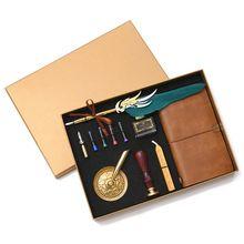 Retro Vintage Kalligrafie Veer Vulpen Schrijven Inkt Lederen Notebook Set