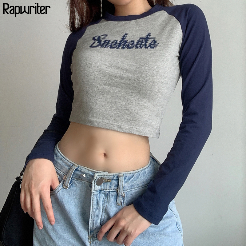 T-shirt femme à manches longues, avec lettres imprimées mignonnes, en coton Y2k, esthétique, Harajuku, à manches longues, Tee-shirt court femme 2020