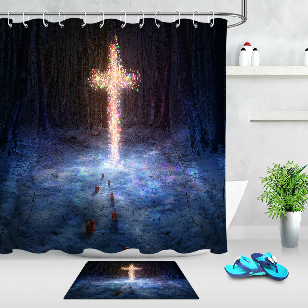 Dreaming Light Jesus Cross Bathroom Shower Curtain Set Waterproof Fabric Hooks