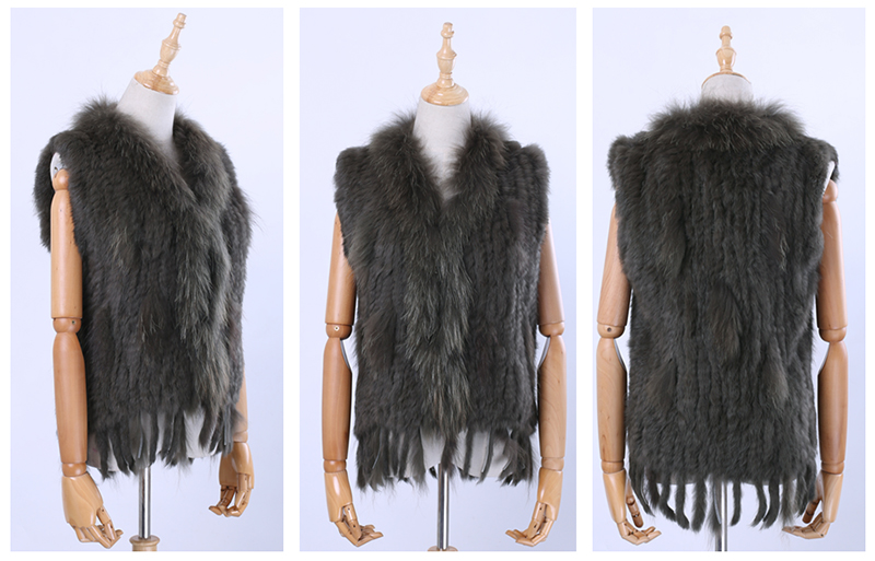 Hd9c4d426954f43709e0246f0305a792ch Brand New Women's Lady Genuine Real Knitted Rabbit Fur Vests tassels Raccoon Fur Trimming Collar Waistcoat Fur Sleeveless Gilet