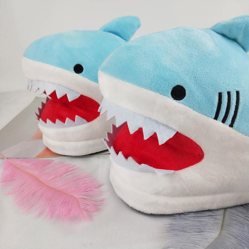 Girls ins animal shark shoes for women winter fuzzy slippers unisex indoor cute slides female slippers