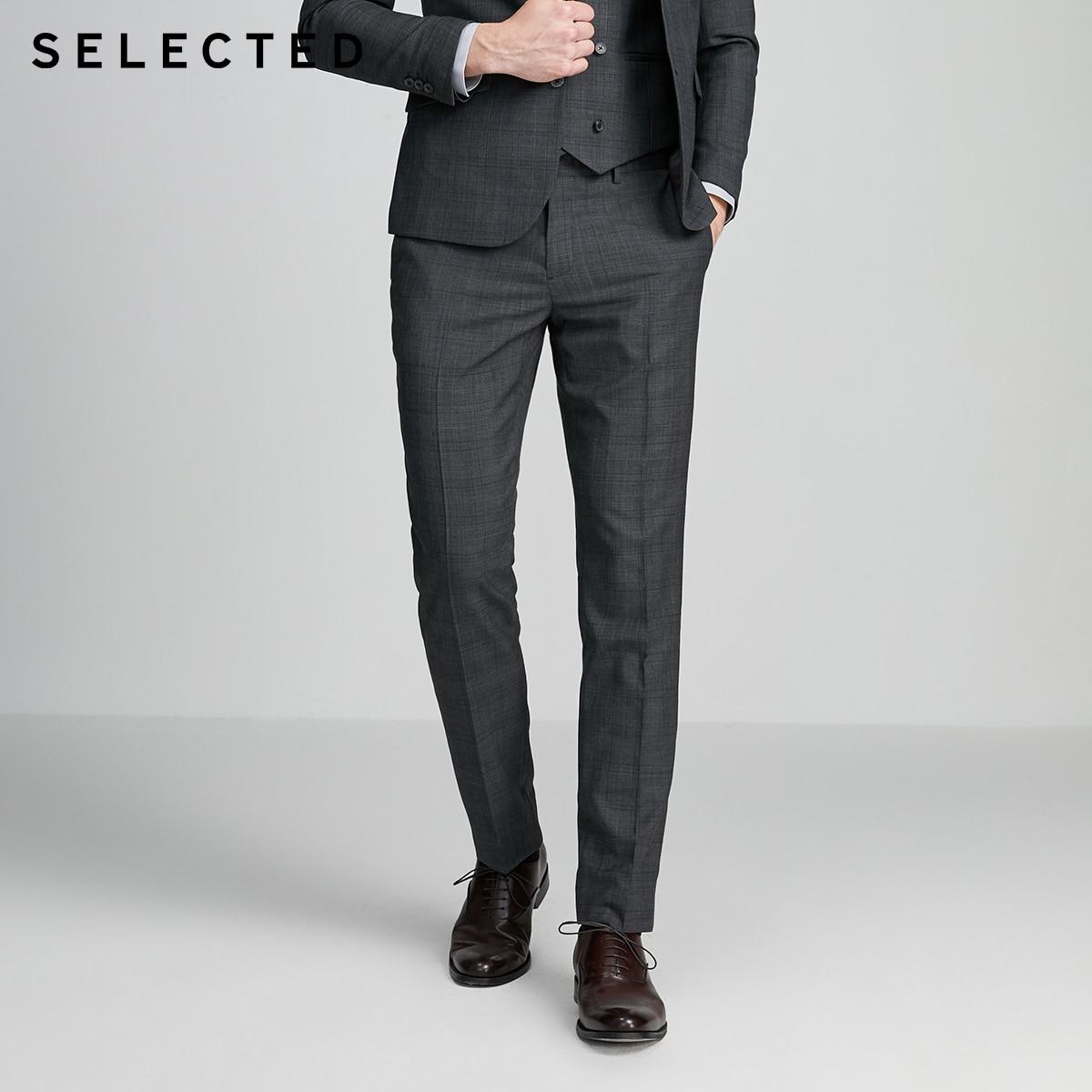 SELECTED Men's Slim Fit Woolen Plaid Business Suit Pants SIG|42016B504