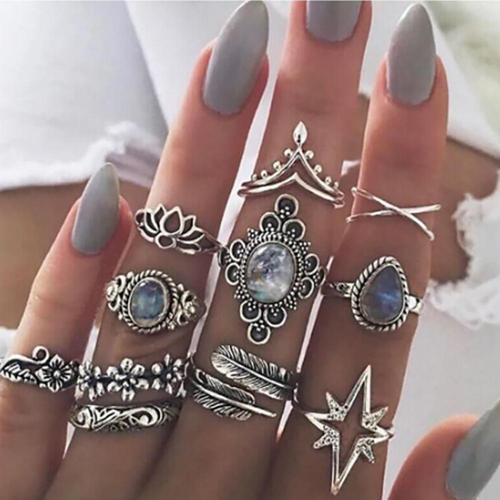 New Design Boho Vintage Gold Star Midi Moon Rings Set For Women Opal Crystal Midi Finger Ring 2020 Female Bohemian Jewelry Gifts 3