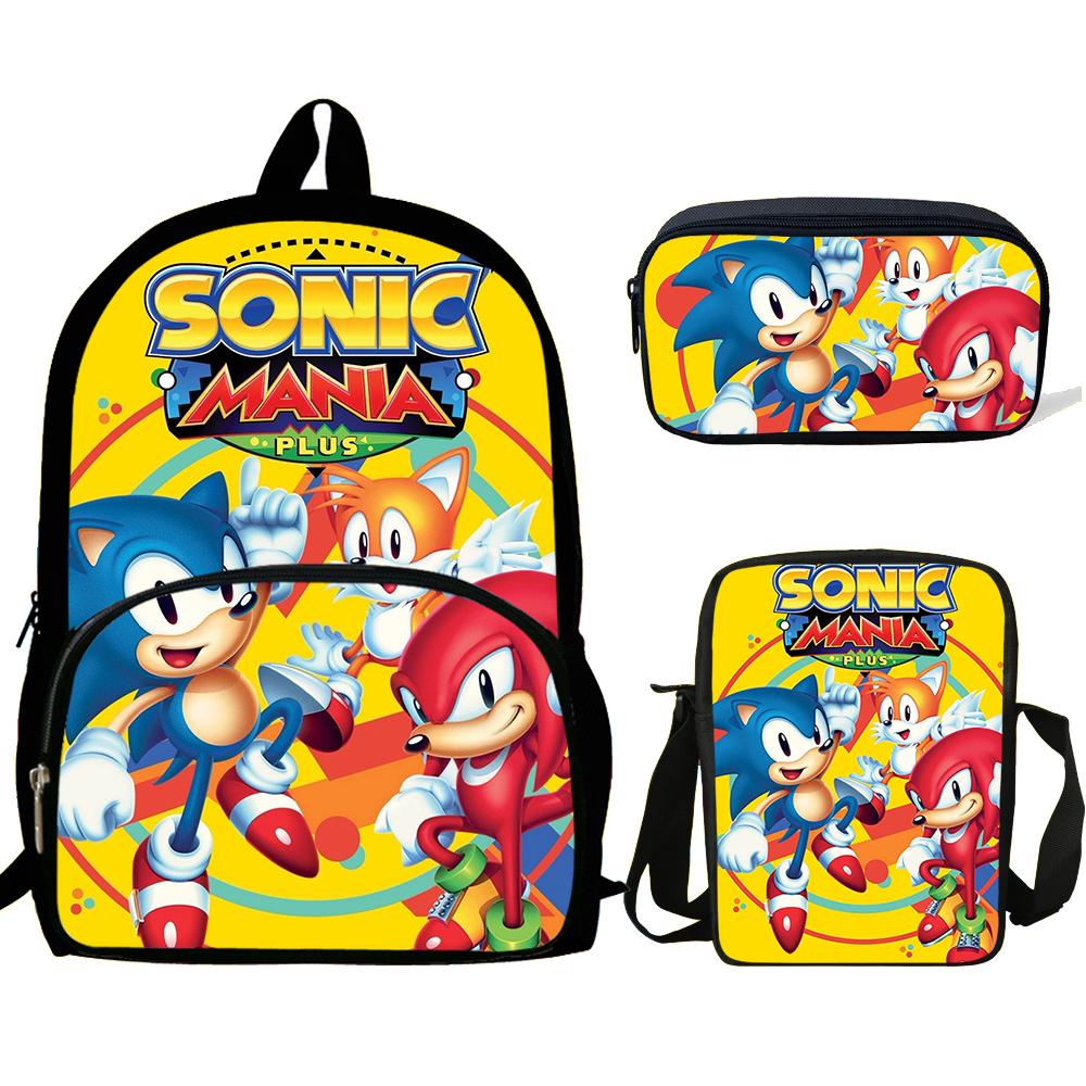 Sonic The Hedgehog Print Backpacks Children Bookbag School Bag Mochila Boys/Girls Daily Shoulder Set Pencil Croobody Custom