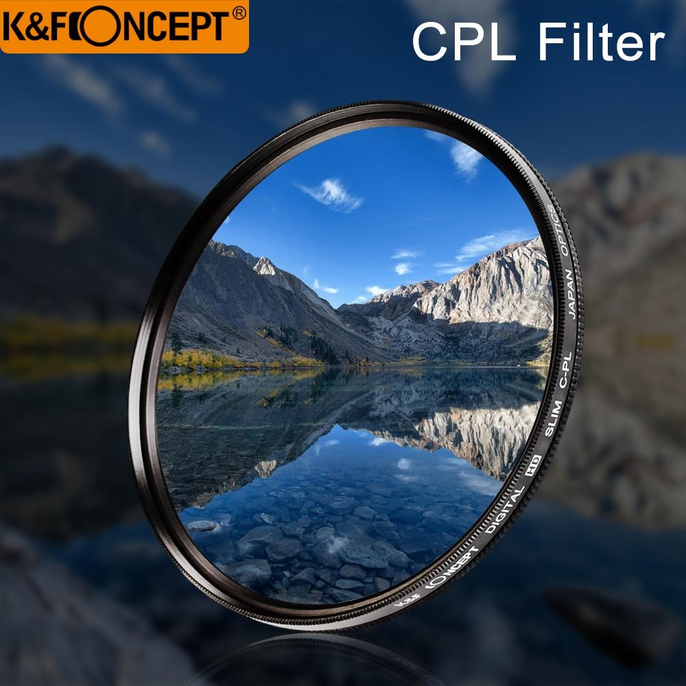 K & f conceito 52 55 58 62 67 77 fino cpl hd polarizador circular polarizando lente filtro pano de limpeza para canon nikon