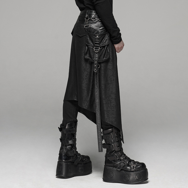 PUNK RAVE Men's Punk Men's Half Skirt Dark Cracked Metal Nail Removable Pocket Personality Long Skirts 3