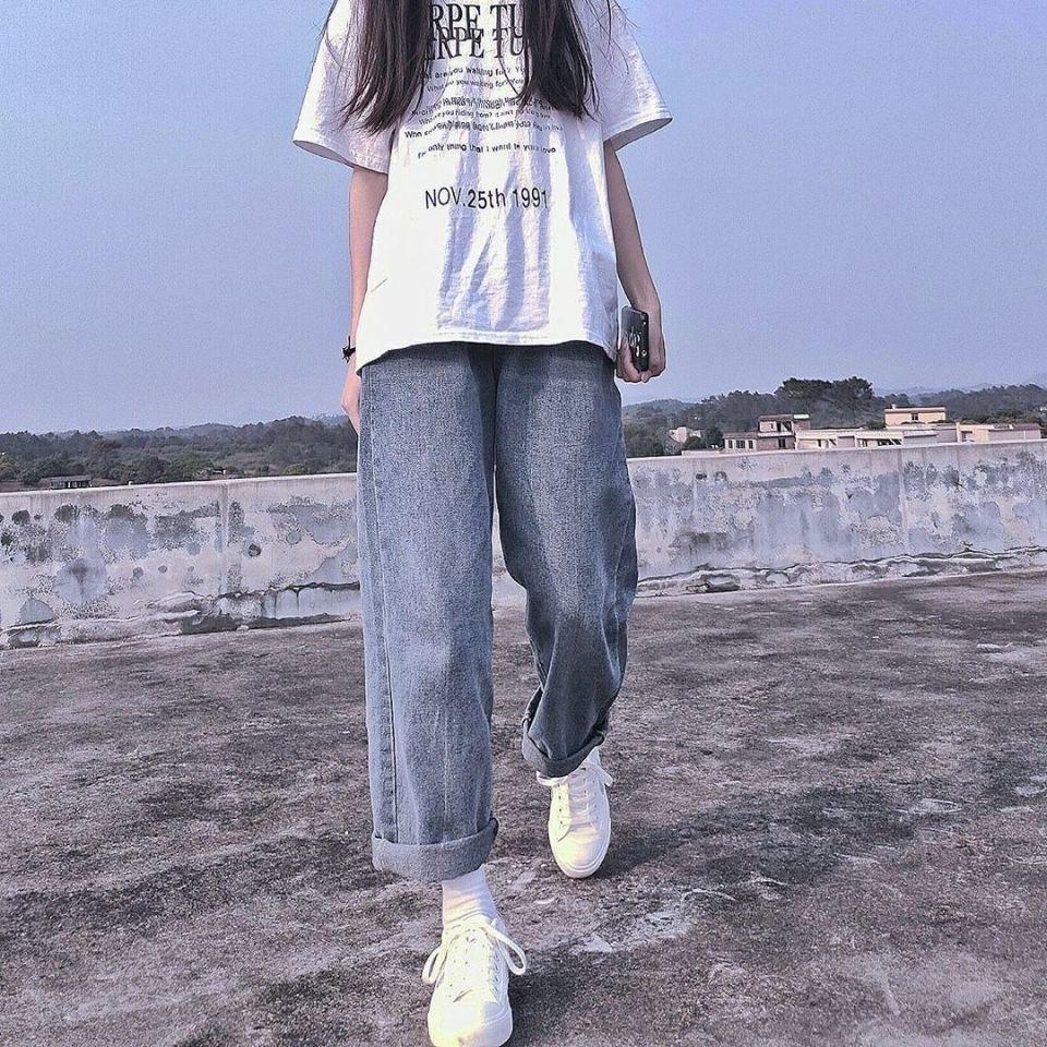 Женские Джинсы бойфренда, летние джинсовые однотонные Свободные повседневные Прямые брюки с высокой талией, корейские уличные женские брю...