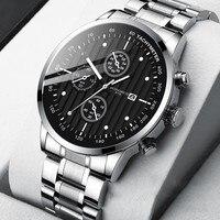 Relojes de marca a la moda para hombre, pulsera de acero de lujo con correa negra, azul y dorado, Reloj Retro de reloj de pulsera, 2021